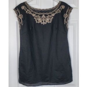 Cynthia rowley linen  Embroidered black tank top